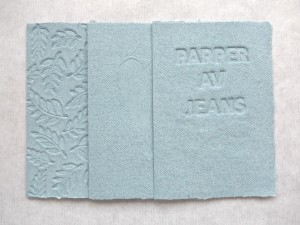 Arm mm, handgjort papper, jeans, papper av jeans, handmade papers from jeans